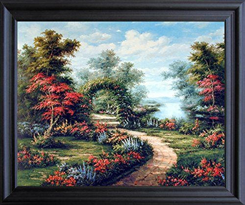 Add the beauty of nature to your home décor by getting this beautiful nature inspired garden path under flower arch scenic landscape framed art print poster. This beautiful nature inspired framed art poster will reflect your passion for nature and travel. It will surely bring the true feel of calm and natural environment home and ensures to make a smile on everyone's face at a very first glance. Its wooden golden frame accentuates the poster mild tone.