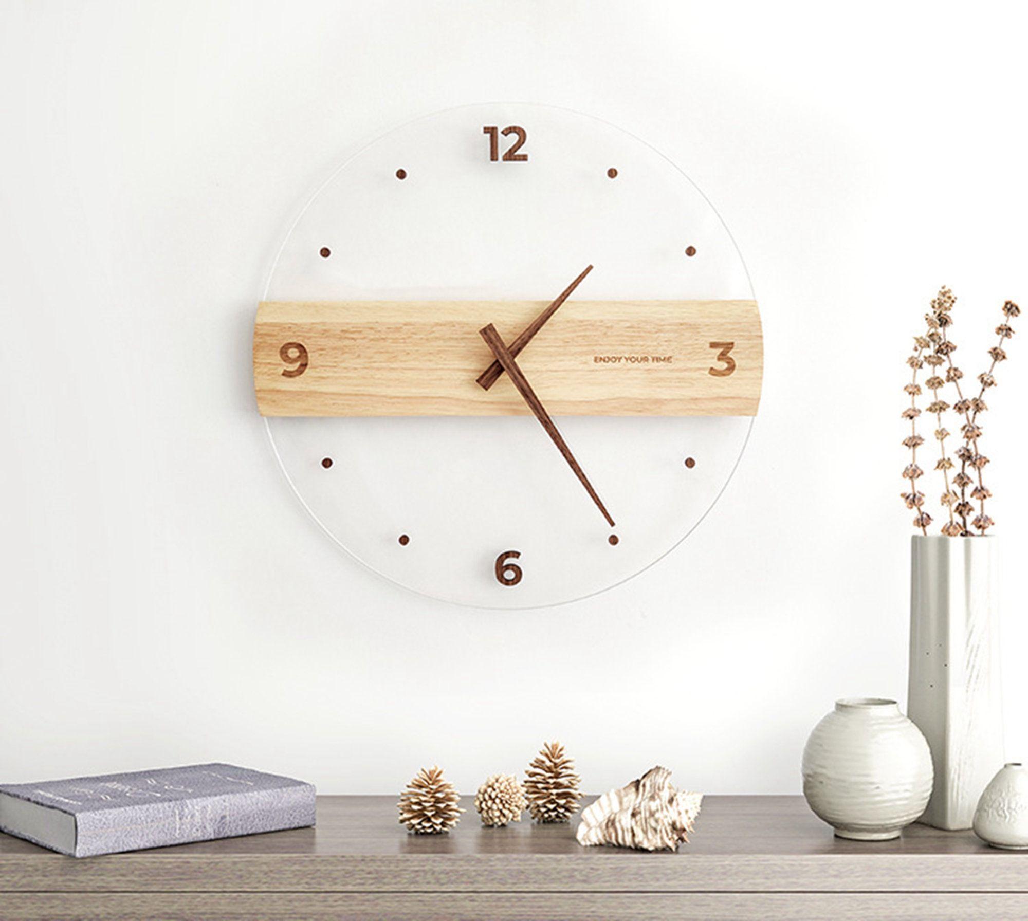 Large Modern Wood Wall Clock Decor Round Wooden Silent Clock Etsy In 2021 Wall Clocks Living Room Wood Wall Clock Clock Wall Decor Decorative kitchen wall clocks