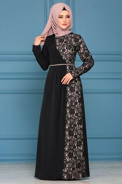 Modaselvim Abiye Pile Detay Dantelli Abiye 4246s324 Siyah Model Pakaian Wanita Pakaian Wanita Model Baju Wanita