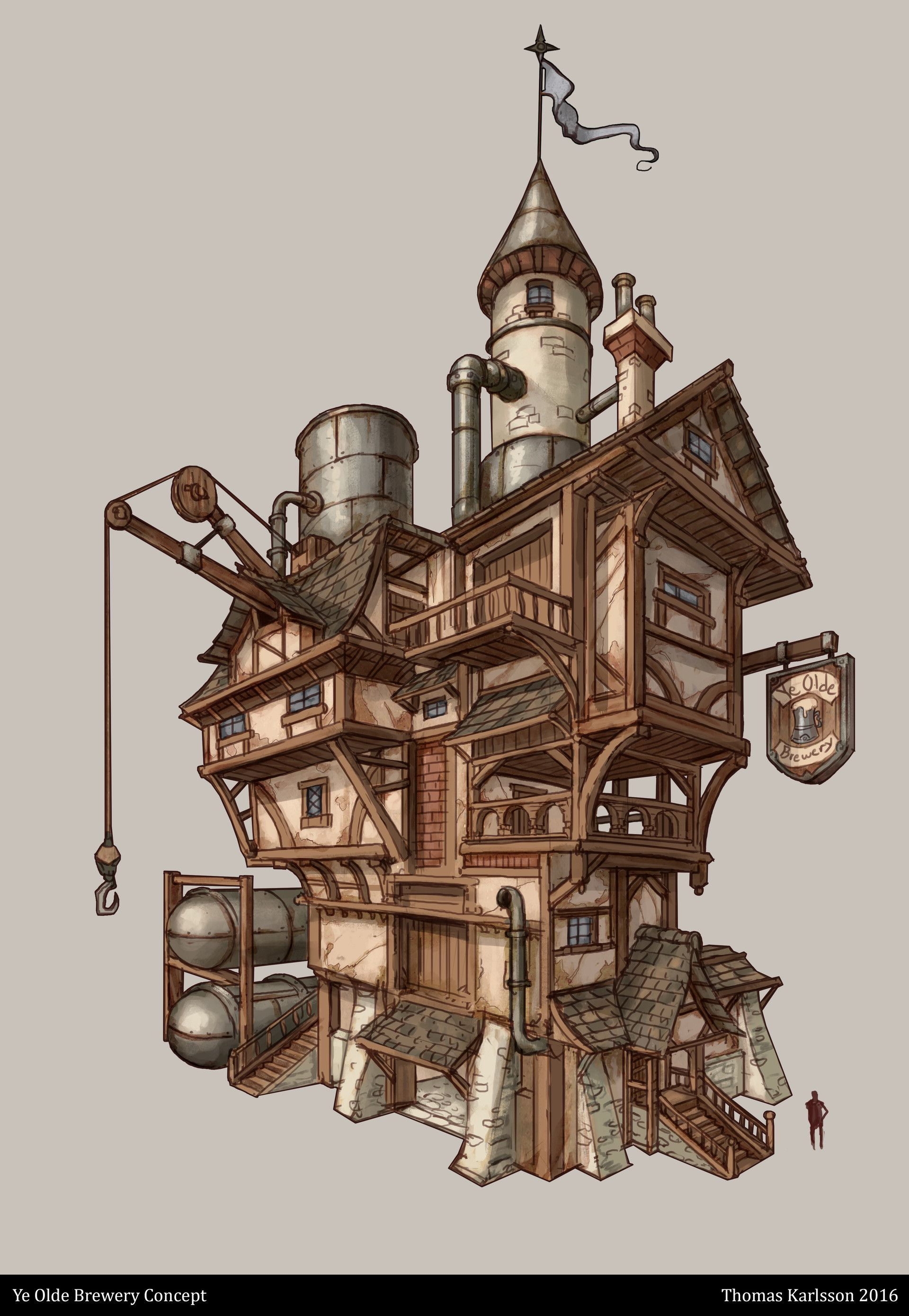 Artstation - Ye Olde Brewery Thomas Karlsson 2d Environment Steampunk House