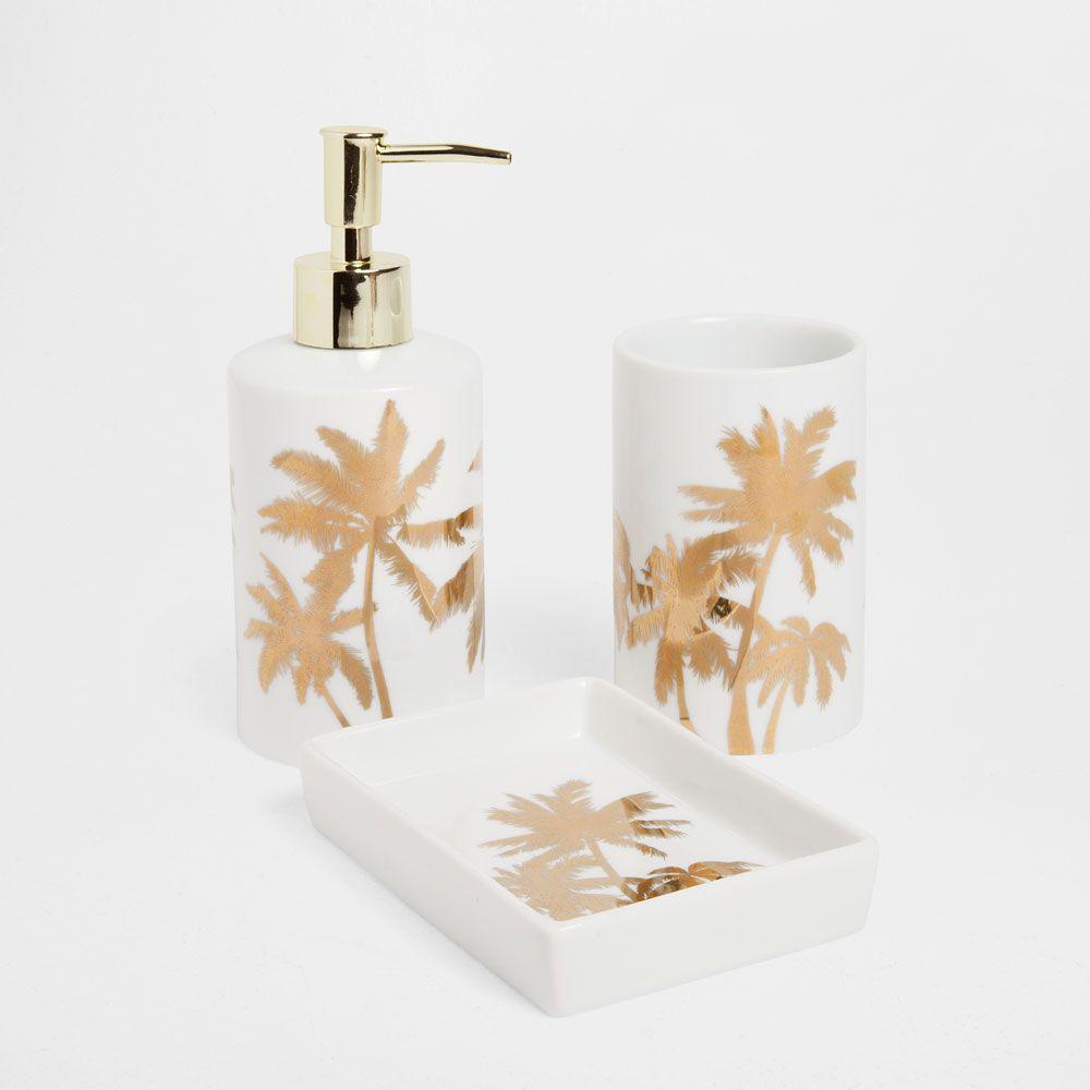 GOLDEN TRANSFER BATHROOM SET | Palms, sand and sun | Pinterest