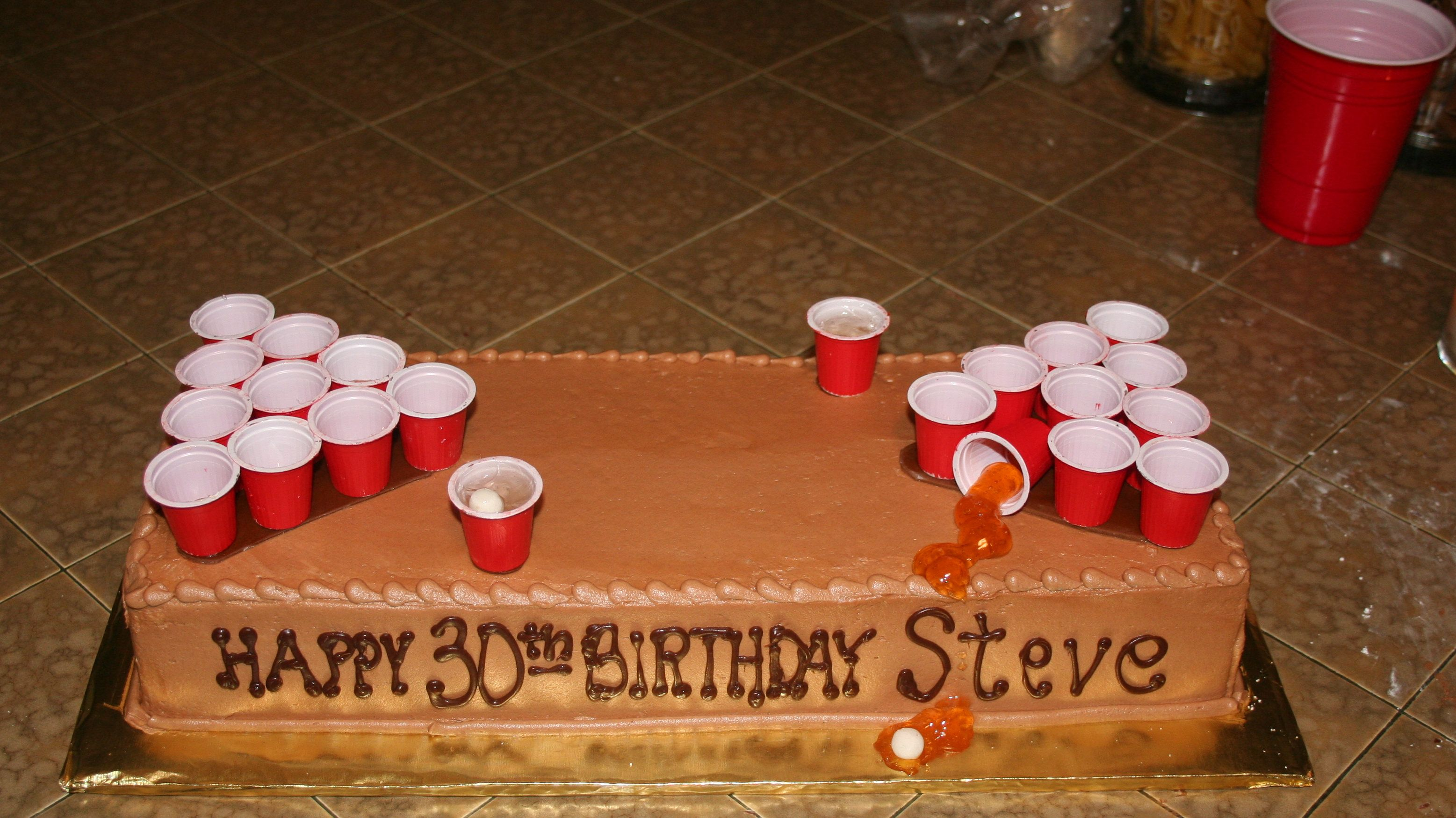 Beer Pong Cake 30th Birthday I Used The Creamers From Mcdonalds