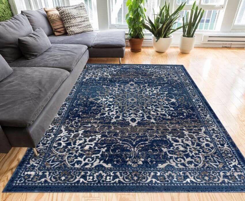 Sultana Blue Vintage Floral Rug Blue Area Rugs Blue Living Room
