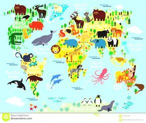 World map continents for kids cartoon animal children and stock world map continents for kids cartoon animal children and stock vector royalty free gumiabroncs Choice Image