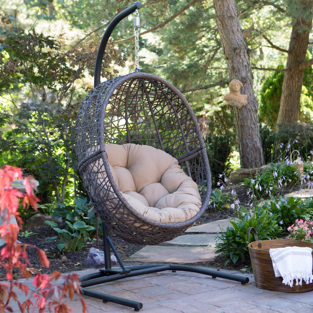 Island Bay Resin Wicker Hanging Egg Chair With Cushion And Stand   Porch  Swings At Hayneedle
