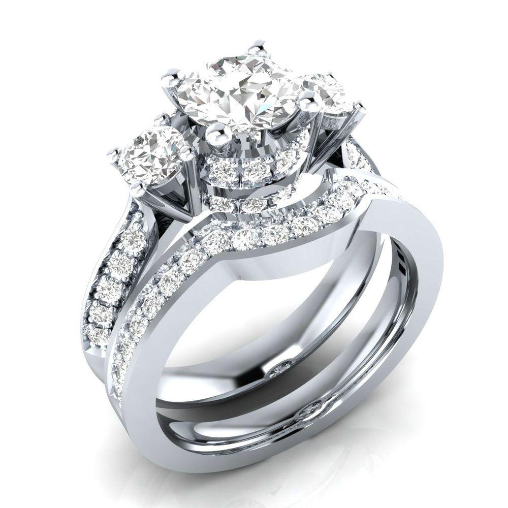 165 ct real white topaz w diamond white gold threestone