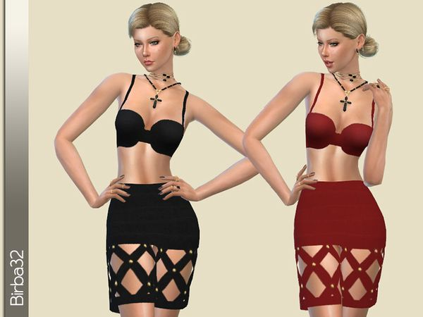 The Sims Resource: Boundage dress by birba32 • Sims 4 Downloads