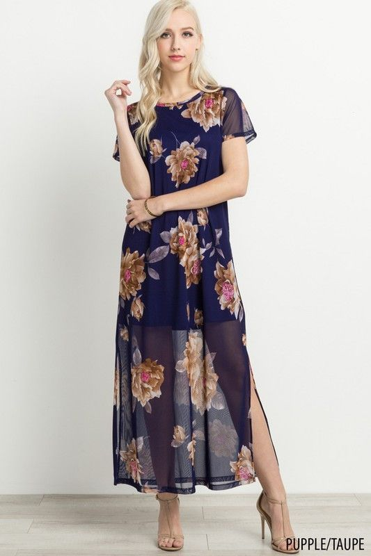 983909709e5f A maxi stunner! Our On the Other Side maxi dress features a short dress  underneath with sheer overlay, all over floral front and back print, and  loose short ...