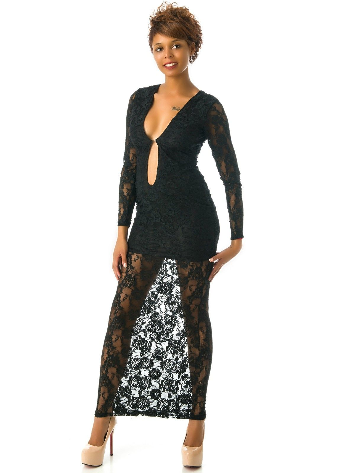 Vestido negro punto manga larga