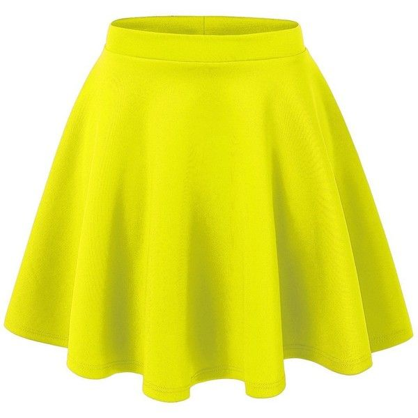 Lock and Love Womens Basic Versatile Stretchy Flared Skater Skirt ($11) ❤ liked on Polyvore featuring skirts, bottoms, faldas, flared skirt, yellow skater skirt, yellow skirt, skater skirt en circle skirt