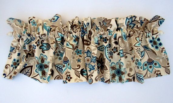 valley valance curtains brown tan blue teal flowers by bananabunch for the home. Black Bedroom Furniture Sets. Home Design Ideas