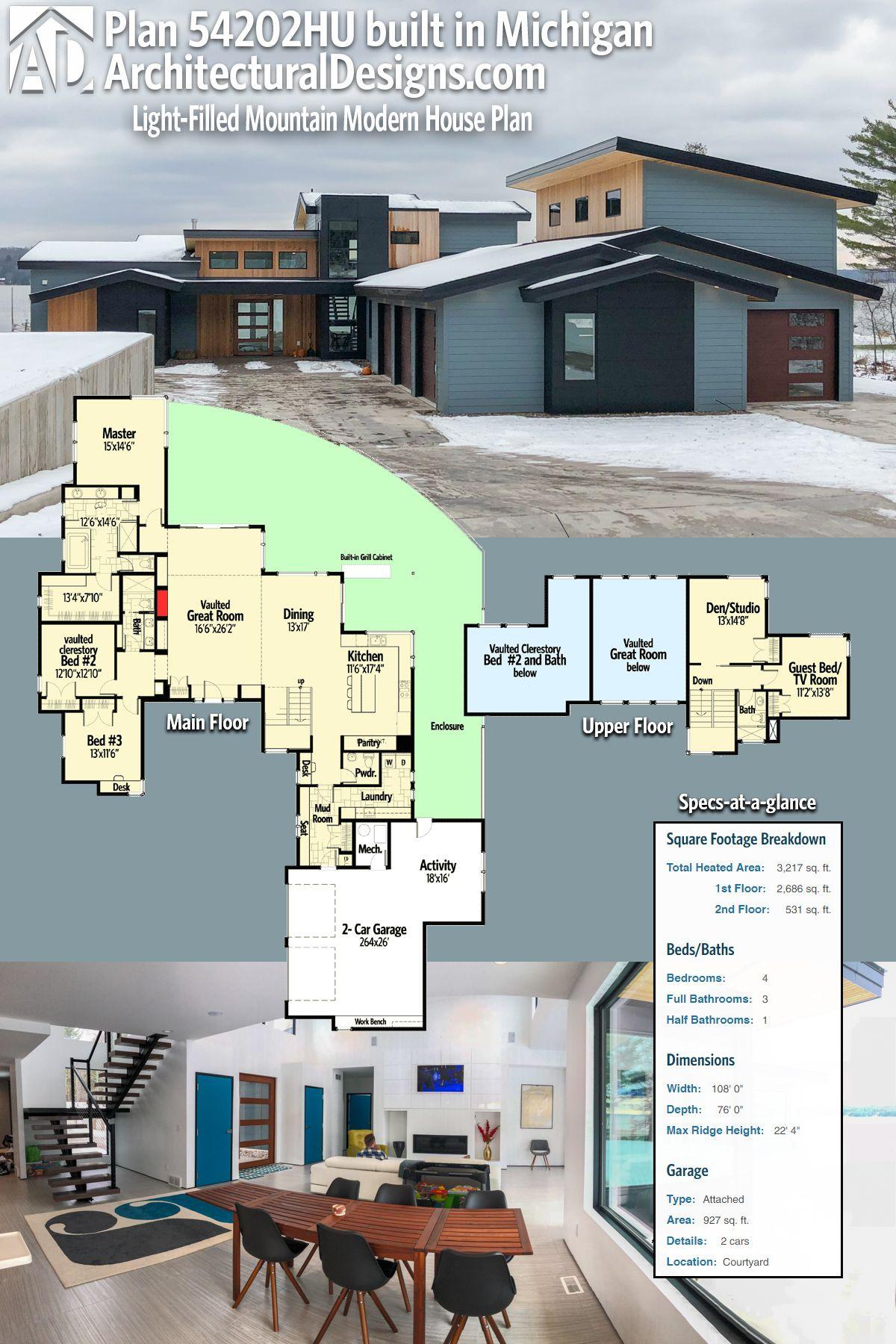plan 54202hu light filled mountain modern house plan modern house