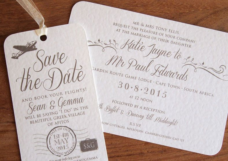 Luggage Label Save The Dates Wedding Abroad Invitation And Date Our Vintage Cards Are Perfect For Letting