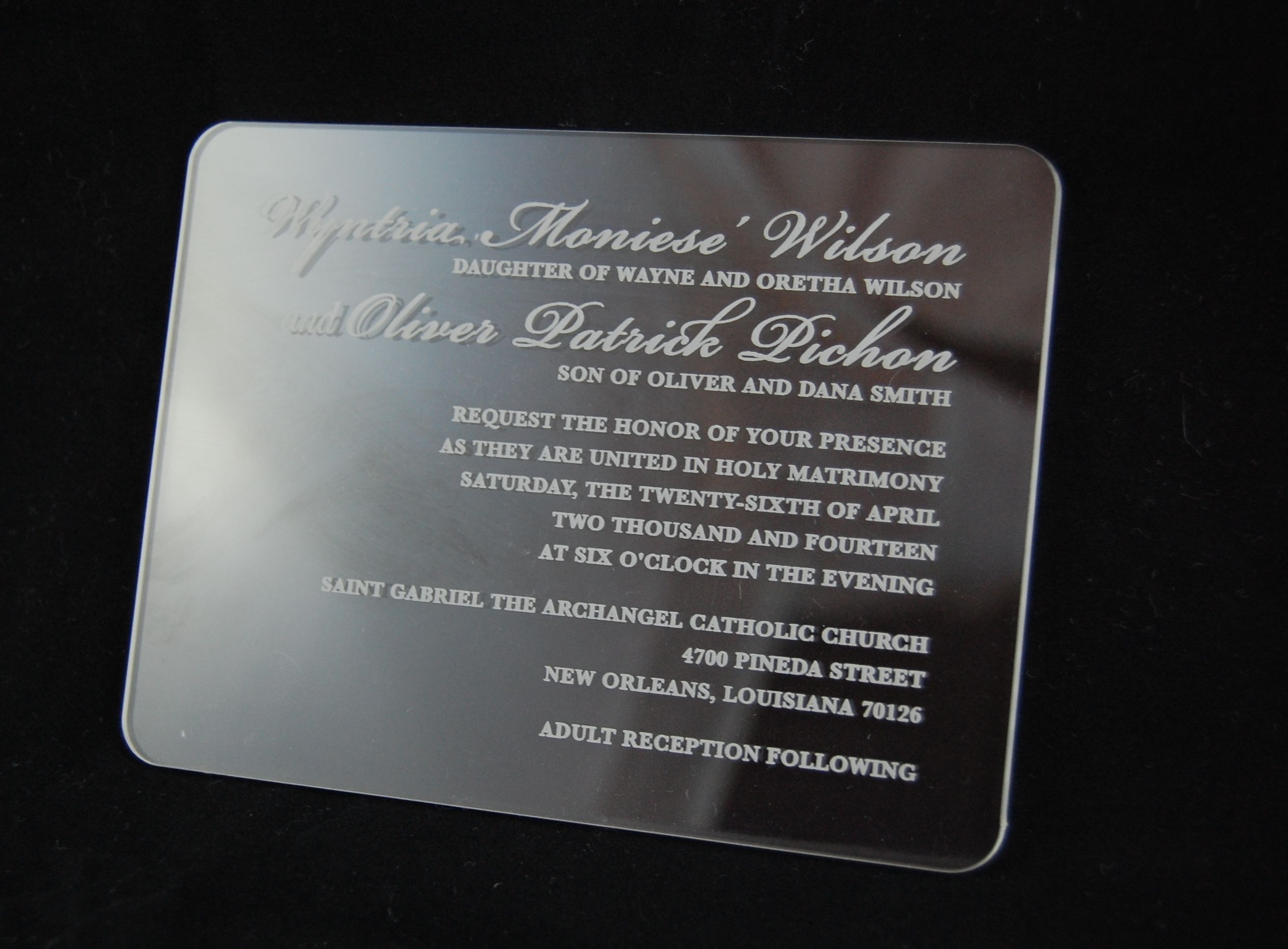 Offering Elegant Acrylic Wedding Invitations Reply Cards And Menus For Your Wedding Or Special Event We Engrave Clear Or Colored Acrylic