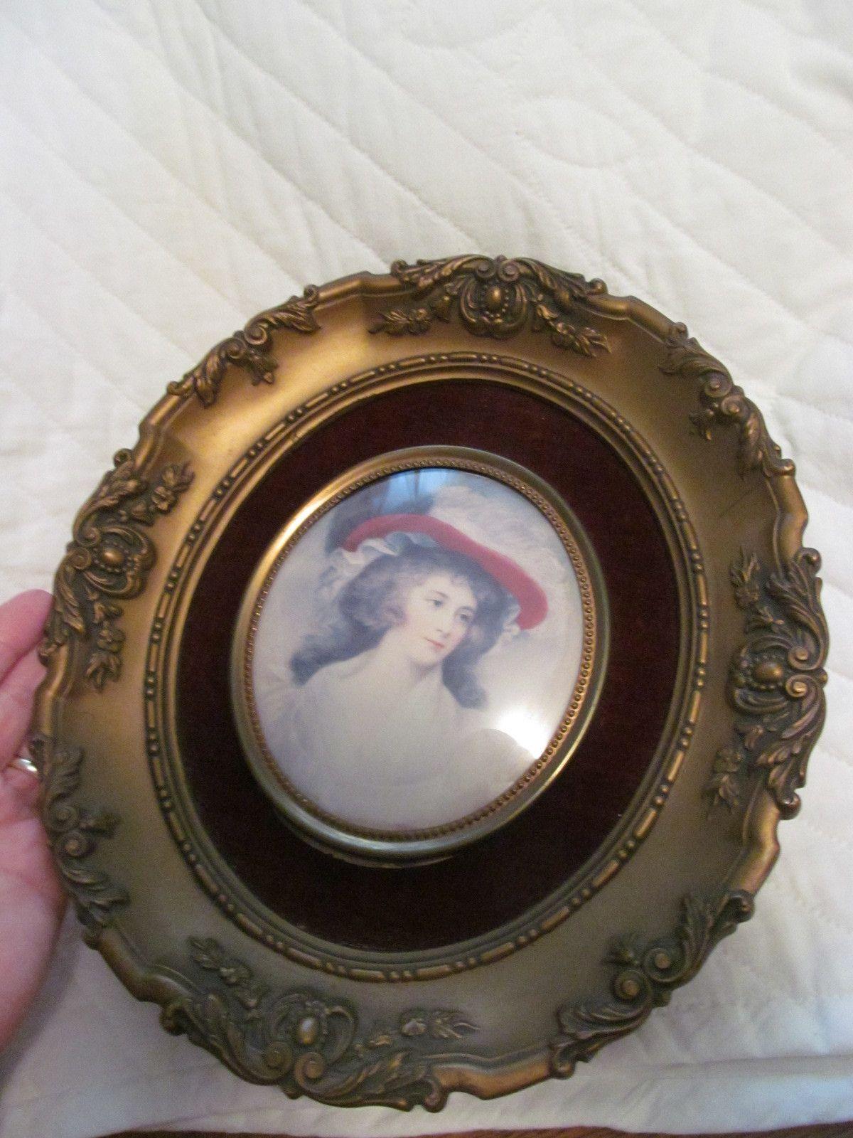 Huge Vintage Cameo Creation Framed Print Miss Tickle Convex Glass Ornate Frame   eBay
