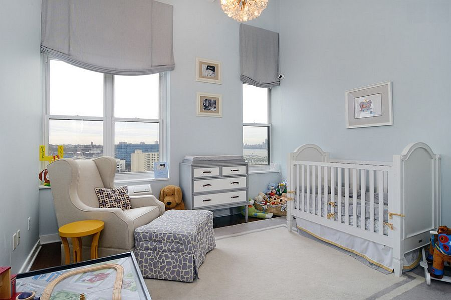 Simple Light Blue Backdrop Gives The Nursery A Tranquil Look Jpg