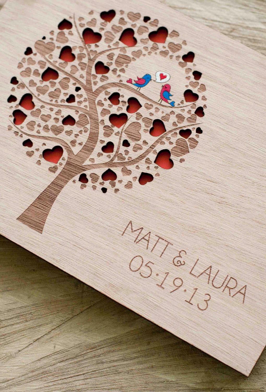 Custom Wedding Guest Book Wood Rustic Al Bridal Shower Engagement Anniversary Cutie