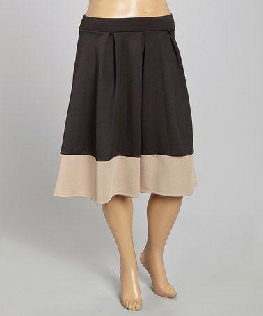 Look at this #zulilyfind! Black & Beige Color Block Pleated Skirt - Plus #zulilyfinds