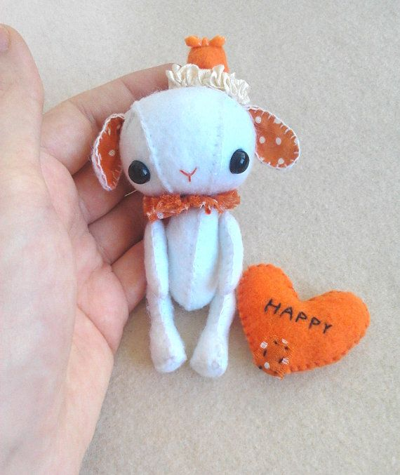 White and orange tiny collectable rabbit. Original by Sacotra