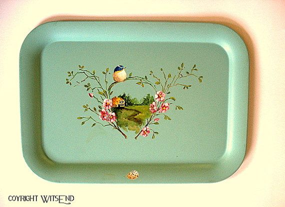 'A COZY COTTAGE', painting of cottage and bird on vintage aqua tray, by 4WitsEnd, via Etsy. SOLD