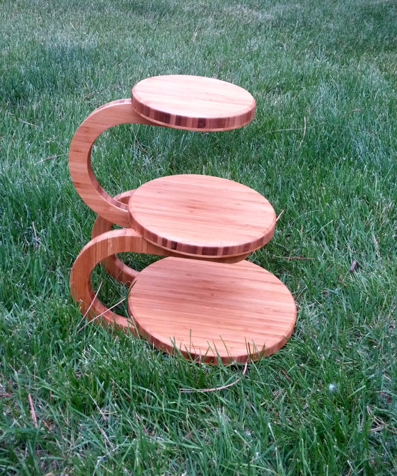 3 Tier Wedding Cake/Cupcake Stand Bamboo By MittenMadeWoodcrafts