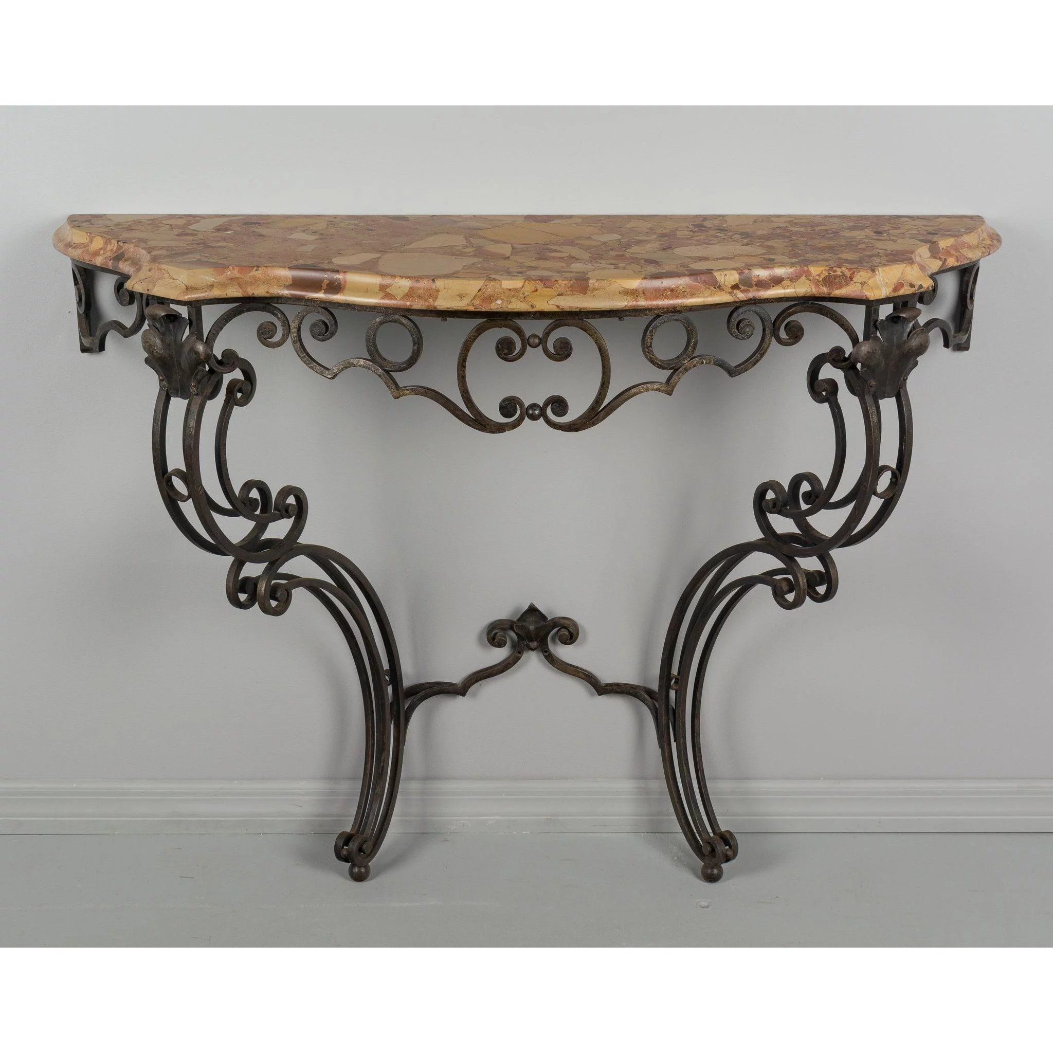 French Wrought Iron Console With Marble Top With Images Iron