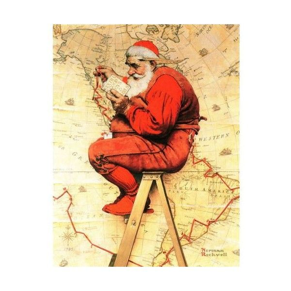 Marmont Hill Santa at the Map Norman Rockwell Painting Print on Canvas ($217) ❤ liked on Polyvore featuring home, home decor, wall art, canvas art, wall decor, canvas home decor, canvas paintings, map wall art, map canvas wall art and map painting