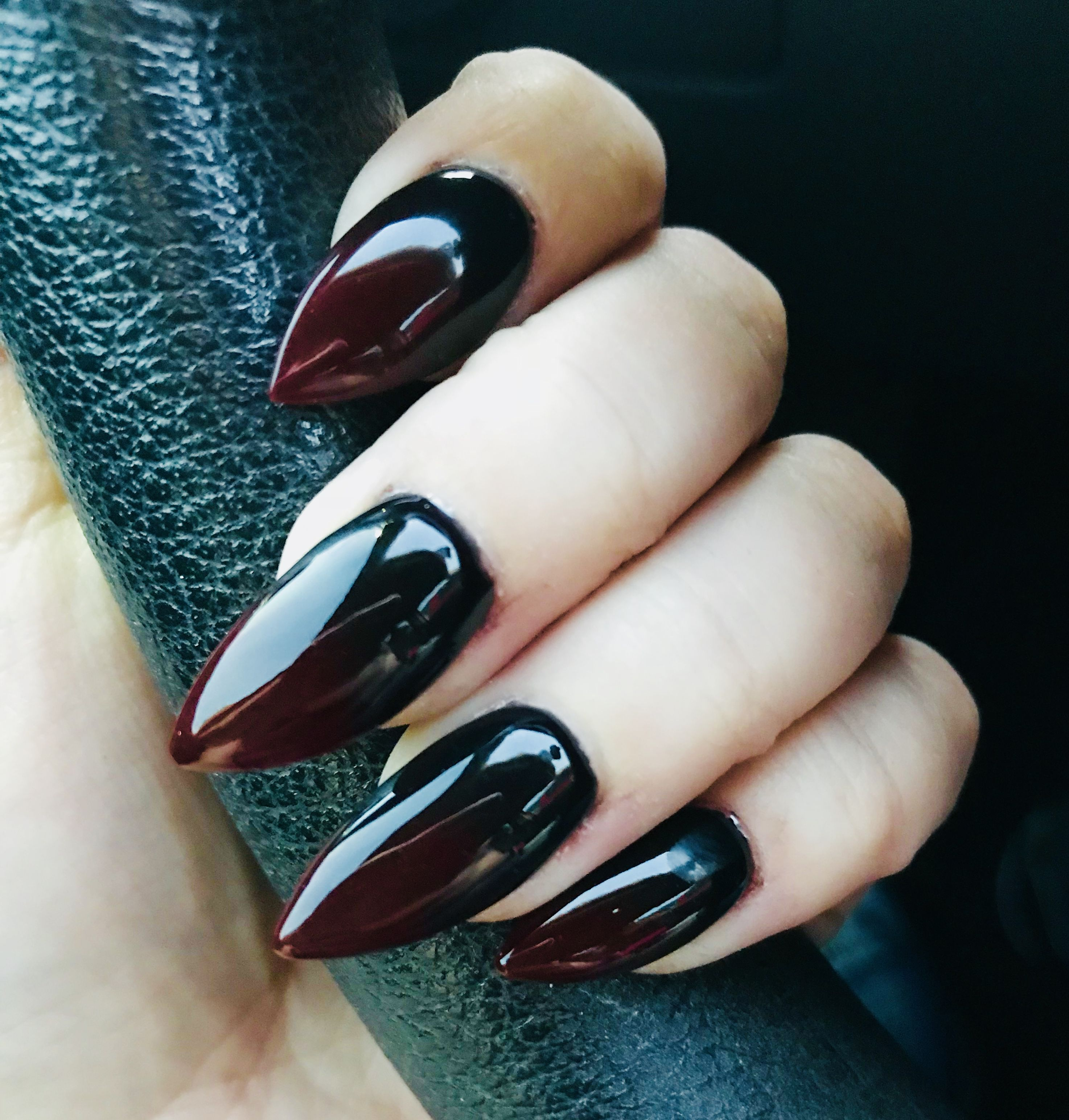 Red And Black Ombre Stiletto Acrylic Nails Red Ombre Nails Red Nails Red Acrylic Nails