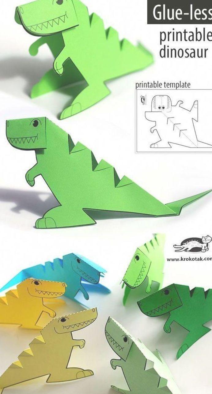 Free Printable Glue Less Dinosaur Template 3dprinterchildren Gluefashion Gluehot Gluetvshow Knutselen Dinosaurus Jongens Knutselen Knutselideeen
