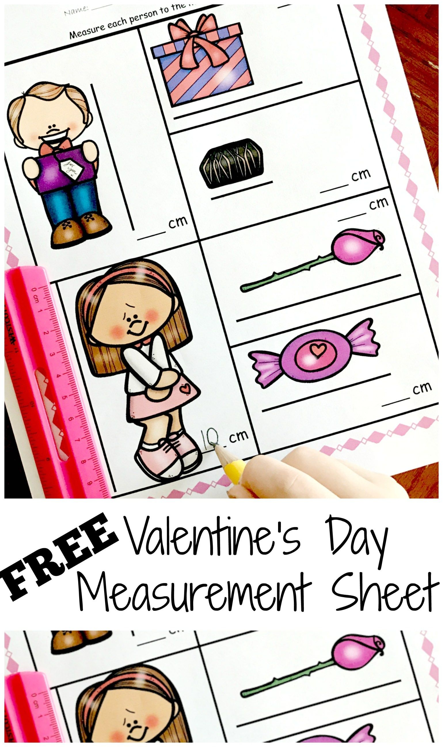 Free Measuring Centimeters Worksheet With A Valentine S