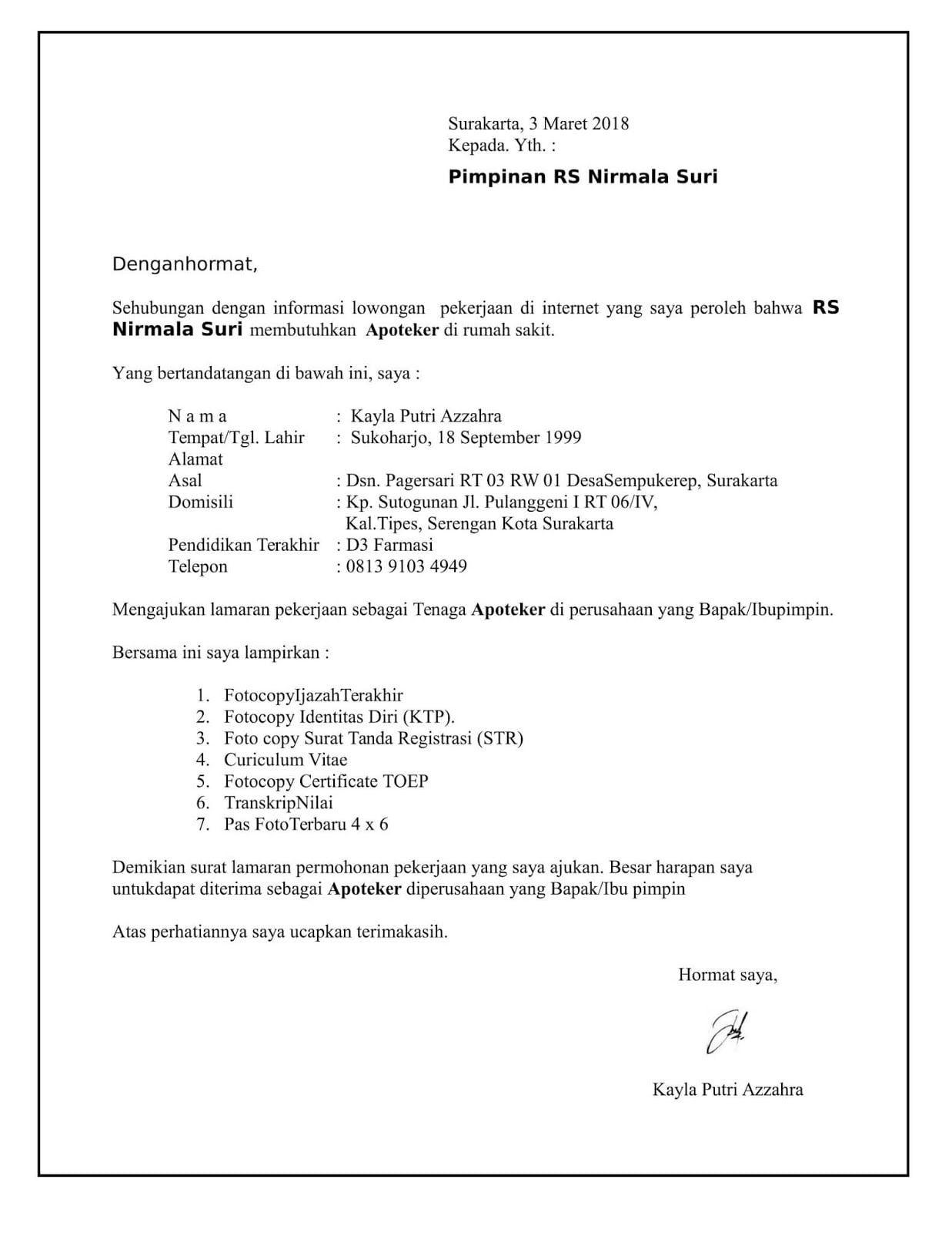 Contoh Surat Lamaran Kerja Rekam Medis Surat Medis Pimpinan