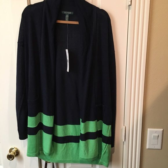 Ralph Lauren Blue and Green Open Front Sweater NWT | D, Ralph ...