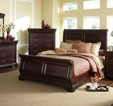 Broyhill Cau Calais Cherry Sleigh Bed 3 Dark Furniturebedroom