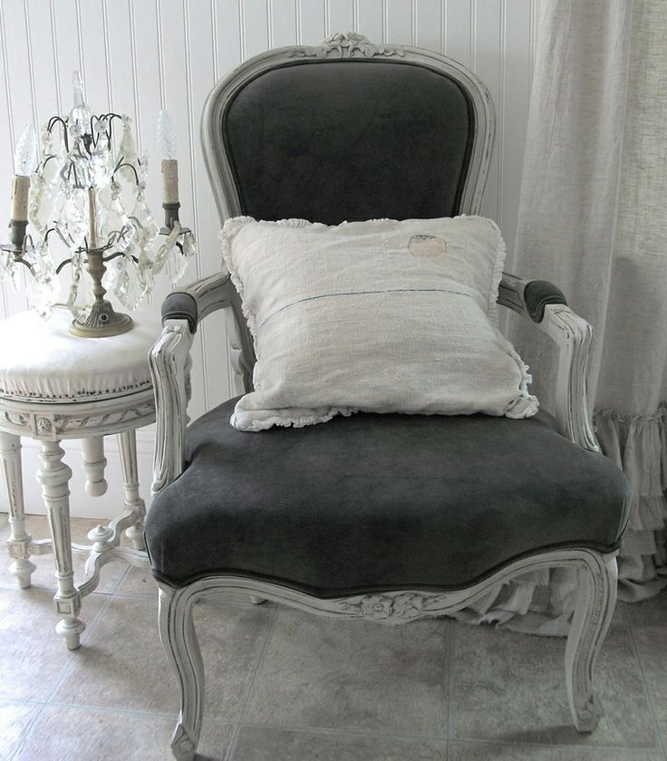 French Velvet Chair Hanging Bubble Louis Xv Style In Yummy Rich Grey Diy Home