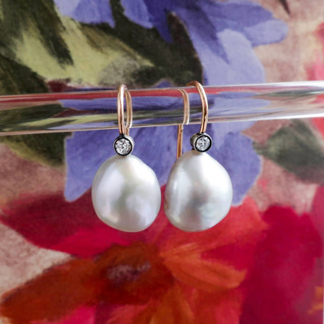 Excited To Share The Latest Addition My Antique Art Nouveau Old Mine Cut Diamond Gray Baroque Pearl Drop Earrings Rose Gold Sterling Silver