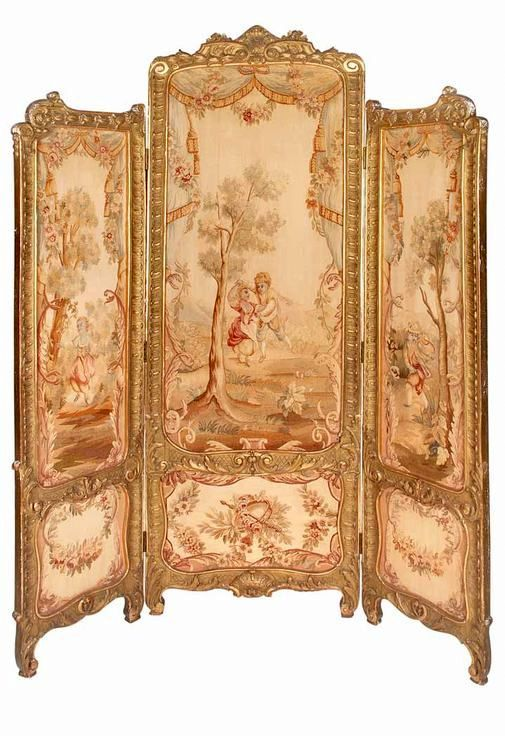 Louis XVI Style Gilt-Wood Aubusson Upholstered Three-Panel Folding Screen The central panel depicting a courting couple dancing in a bucolic country landscape, flanked by a girl on the left and a boy on the right blowing his horn, 19/20th c.