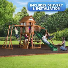 Woodbury Swingset Free Delivery And Installation Kmart With Images Installation Swing Set Park Slide