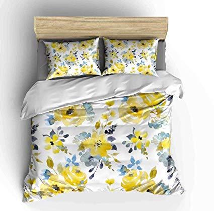 Amazon Com Abojoy Floral Duvet Cover Set Queen Size Watercolor Botanical Yellow Flowers And Cyan Blue Lea Floral Duvet Duvet Covers Yellow Floral Duvet Cover