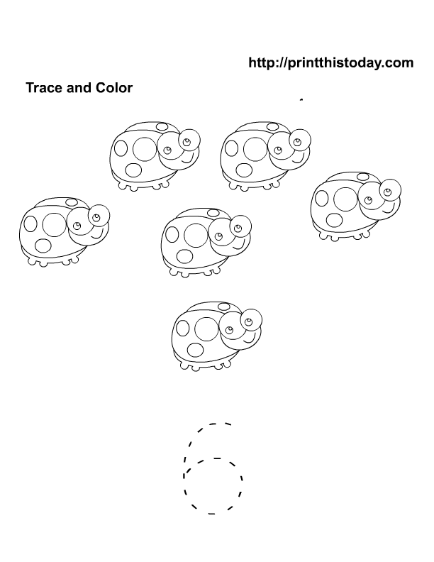 Count color and trace number 6 | Free Printable Worksheets and ...
