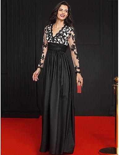 A Line V Neck Floor Length Lace Taffeta Formal Evening Dress With