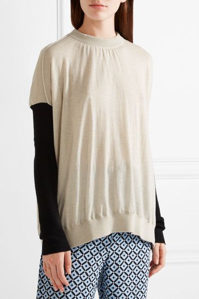Marni - Bow-embellished Color-block Cashmere Sweater - Cream - IT44