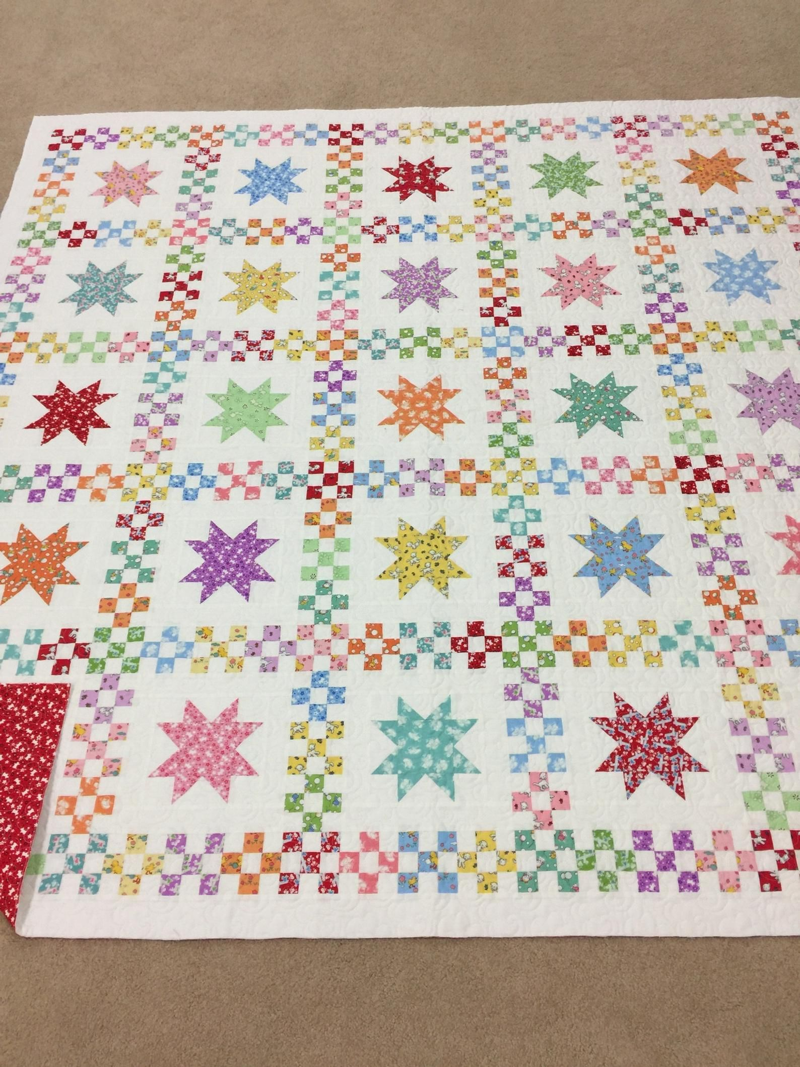 Sweet Dreams PDF Quilt Pattern is part of Quilt patterns, Star quilt patterns, Quilts, Pdf quilt pattern, Bright quilts, Charm quilt - 2 yard fabric for binding