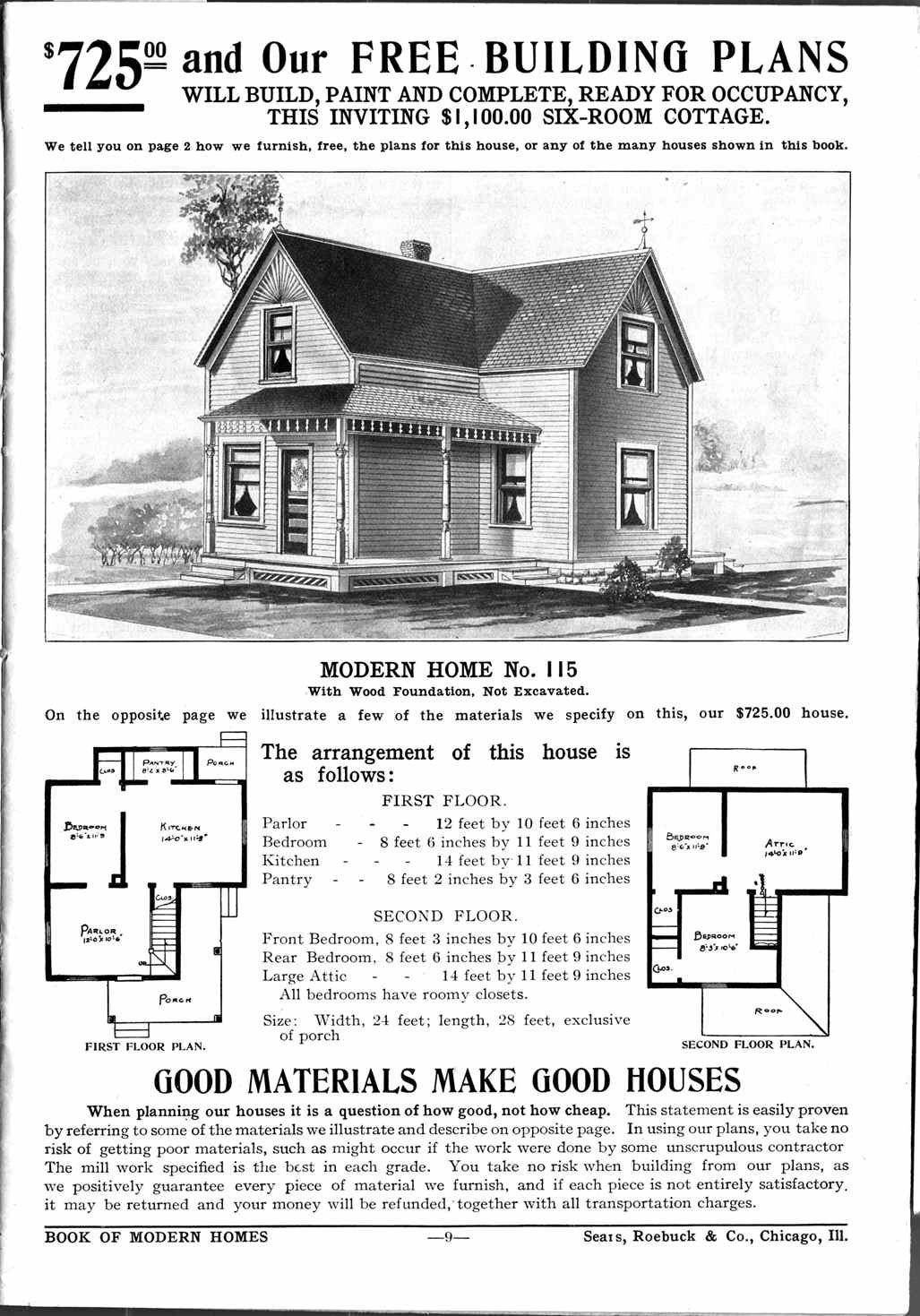 1908 Sears Mail Order House No. 115 For $725   1913 Home Decor
