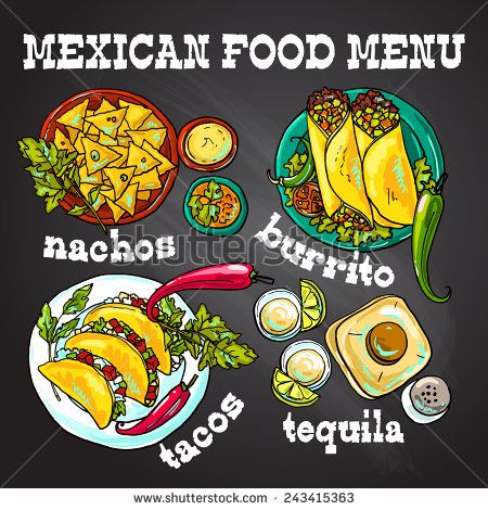 Beautiful Hand Drawn Set Of Mexican Food Illustration On The Chalkboard Mexican Food Recipes Food Illustrations Mexican Food Menu