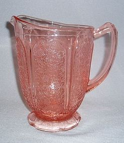 Old Pink Cherry Blossom Depression Glass Footed Pitcher - Vintage Jeannette Glass (1930-1939)