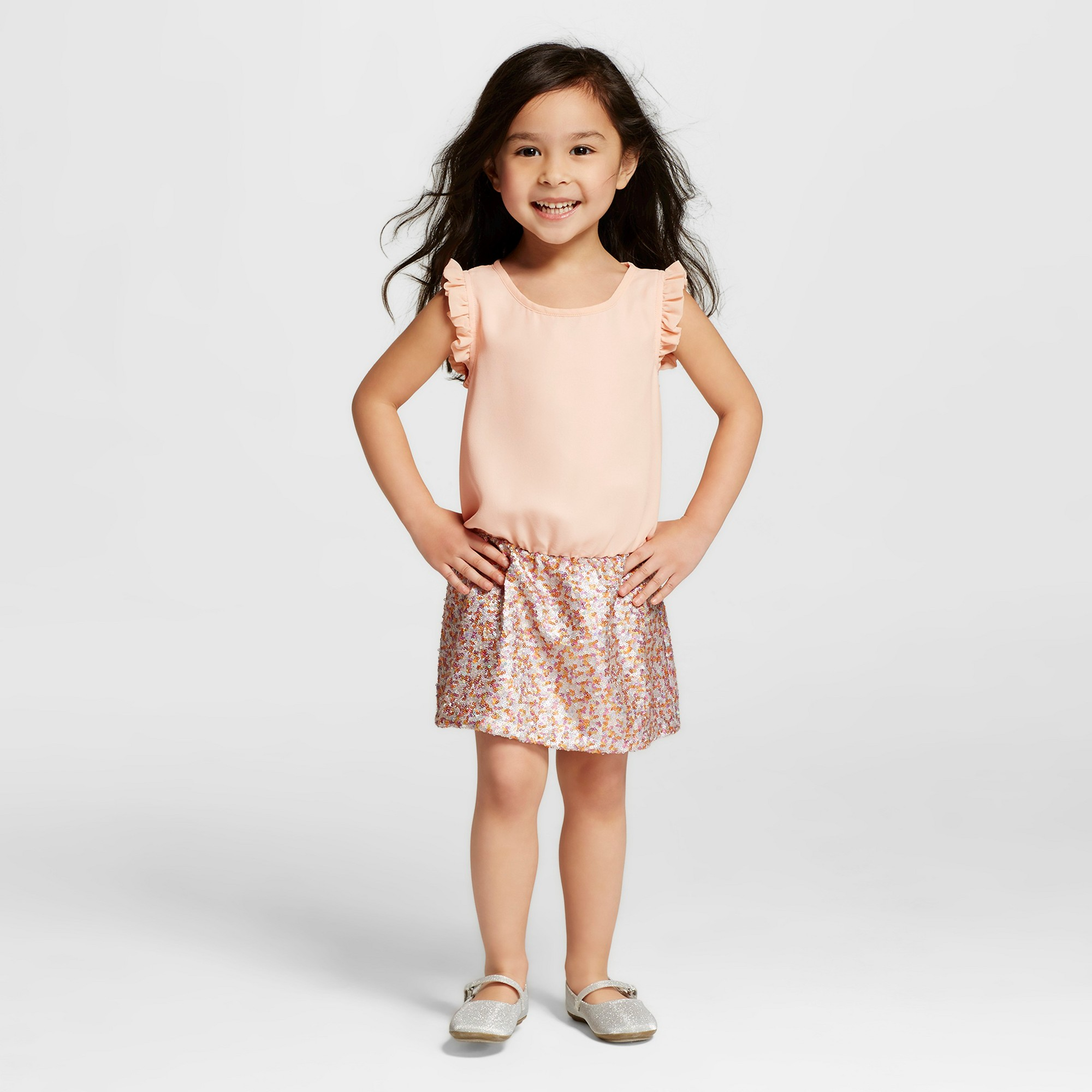 Miss treasures toddler girlsu lia dress with sequin skirt pink t