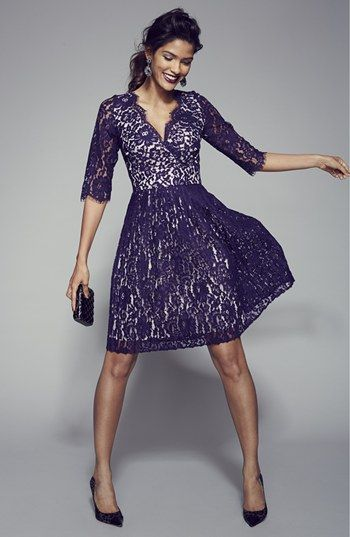 dd114b1ed0ea Eliza J Pleat Lace Fit   Flare Dress (Regular   Petite)
