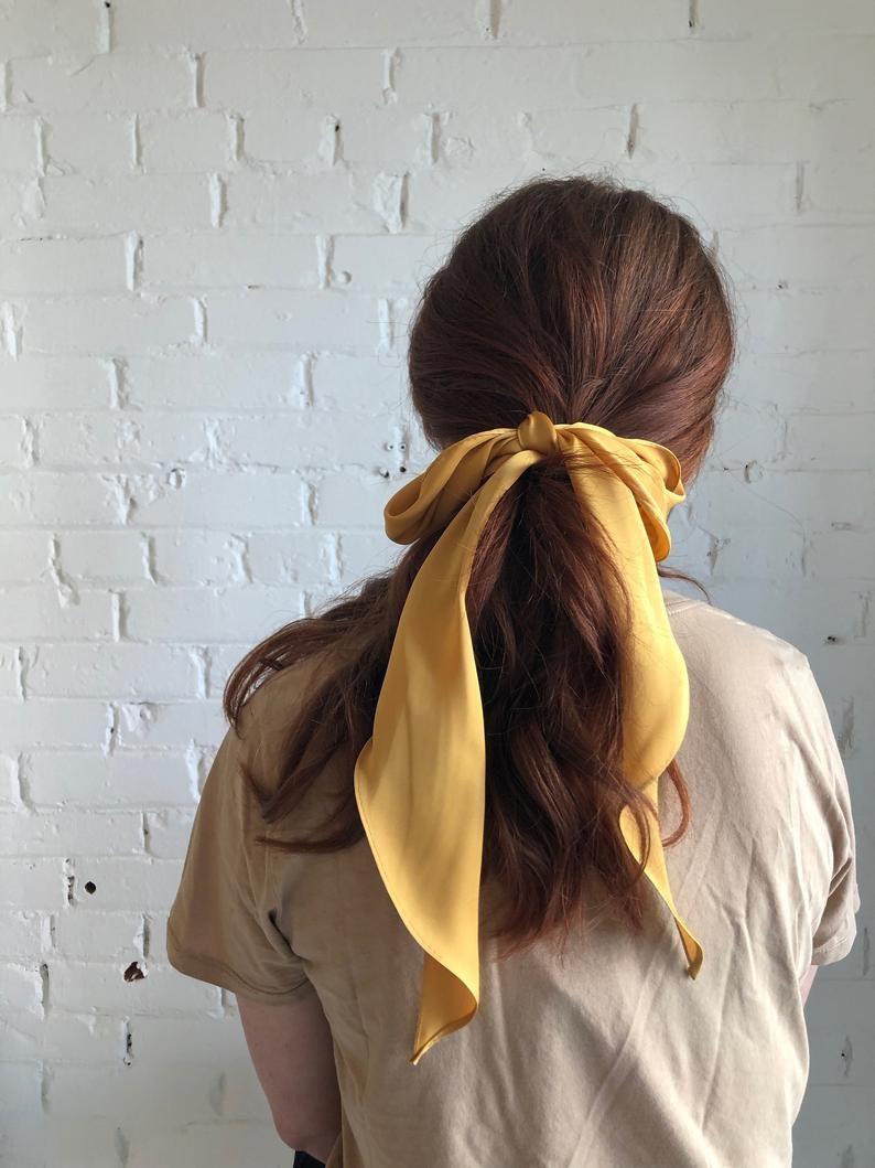 Saffron Silk Hair Bow Long Silk Hair Ribbon Long Silk Etsy In 2020 Hair Scarf Styles Hair Styles Scarf Hairstyles