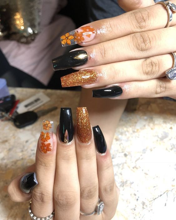 33 Super Fabulous Nail Art Designs With Dried Flower Coffin
