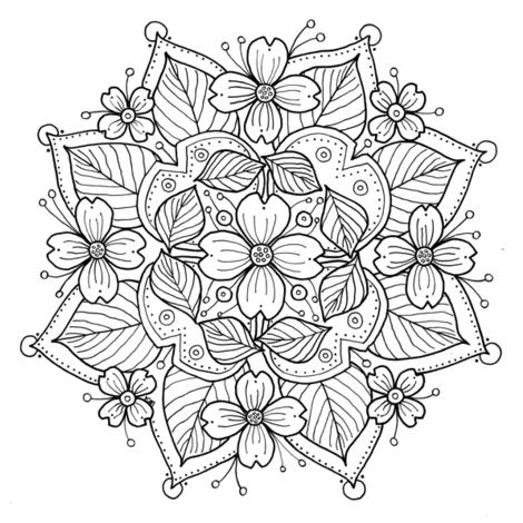 Dogwood Mandala to Color fabric by kimmiles on Spoonflower - custom ...